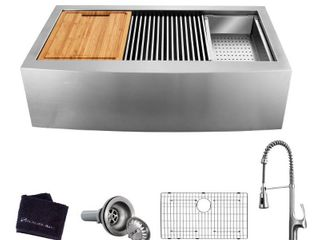 Glacier Bay All in One Apron Front Farmhouse Stainless Steel 33 in  Single Bowl Workstation Sink with Faucet and Accessories  Brushed Stainless Steel