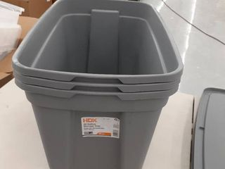 3  20gal Storage Totes with lids Grey