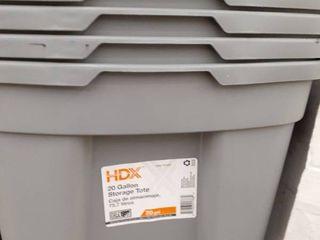 4  20gal Storage Tote with lids Grey