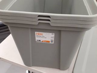 3  30gal Storage Totes with lids Green