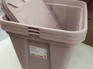 3  20gal Storage Tote with lids Mauve
