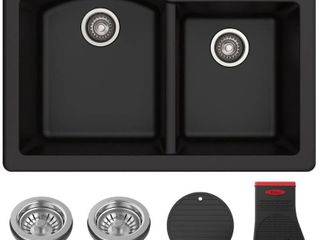 KRAUS Fortezaa 33a Dual Mount 60 40 Double Bowl Granite Kitchen Sink in Black