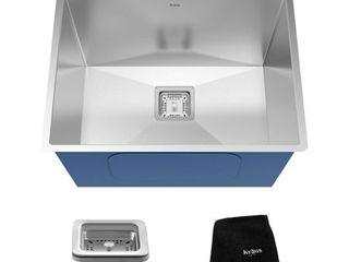 Kraus KHU24l Pax Zero Radius 24  18 Gauge Handmade Undermount Single Bowl Stainless Steel laundry and Utility Sink