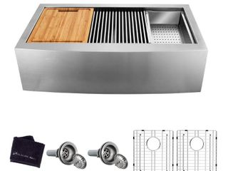 Glacier Bay All in One Apron Front Farmhouse Stainless Steel 33 in  50 50 Double Bowl Workstation Sink with Accessory Kit  Brushed Stainless Steel
