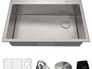 KRAUS loften Undermount Drop In Stainless Steel 33 in  1 Hole Single Bowl Kitchen Sink  Satin