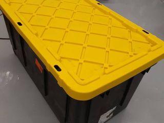 1 70gal Storage Tote with wheels   lid black yellow