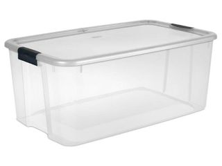 1 Sterilite 116 Qt  Ultra Storage Box  Clear Base with Clear lid and Black latches DAMAGED lid is broken on the one end