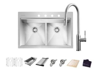 Glacier Bay All in One Drop In Stainless Steel 33 in  4 Hole 50 50 Double Bowl Workstation Sink with Faucet and Accessories Kit  Brushed Stainless Steel