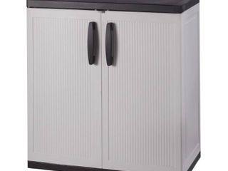 HDX 36 in  H x 36 in  W x 18 in  D Plastic 2 Shelf Multi Purpose Base Cabinet in Gray