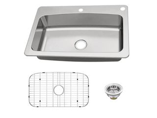 Glacier Bay Dual Mount 18 Gauge Stainless Steel 33 in  2 Hole Single Bowl Kitchen Sink with Grid and Drain Assembly  Silver