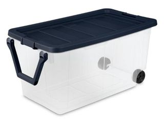 1 Sterilite 160 Qt  Wheeled Storage Box  Clear Base with Ink lid