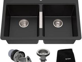 Kraus KGD 433B Dual Mount 50 50 Double Bowl Onyx Granite Kitchen Sink  33 1 2 Inch  Black