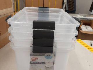 4  Weather Proof 8Qt  Storage Tote NO lIDS