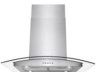 AKDY 30  Stainless Steel Island Mount Range Hood Tempered Glass Push Button Control Kitchen Cooking Fan with Carbon Filters