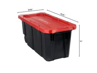 45 Gal  Black and Red latch and Stack Tote with Wheels NOT INSPECTED NO lID
