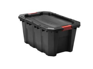 Husky 25 Gal  latch and Stack Tote in Black NOT FUllY INSPECTED