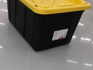 HDX 27 Gal  Tough Storage Bin in Black  Black   Yellow
