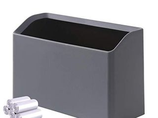 Mini Trash Can Bold Ed  Small Waste Garbage Basket Bin for Desk Office Kitchen Bedroom Bathroom  100 Plastic Bags  Ash