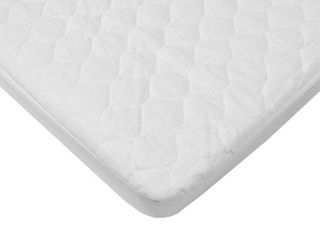 American Baby Company Waterproof Quilted Cotton Bassinet Size Fitted Mattress Pad Cover  White  for Boys and Girls