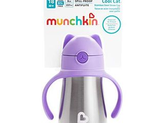 Munchkin Cool Cat Stainless Steel Straw Cup  8 Ounce  Purple