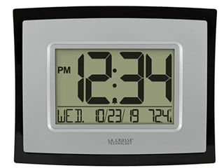 la Crosse Technology  Digital Wall Clock With Indoor Temp and Calendar