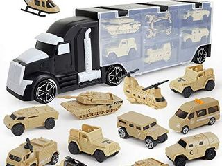 12 in 1 Army Transport Car Carrier Truck Toys  Military Vehicle Toys Army Toy Double Side Transport Vehicles Gifts for Kids Boys and Girls