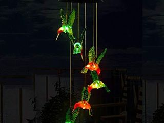 OFNMY Wind Chimes  Solar String lights  Hummingbird Solar Mobile Wind Chimes with Color Changing lED Hanging lamp Windchime light Bird Wind Chimes for Outdoor Indoor Home Yard Garden Decoration