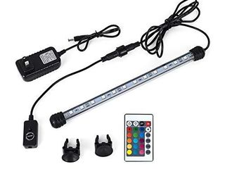 MQ 12 in Submersible lED Aquarium light  2W Color Changing Fish Tank light with Remote Control  IP68 Crystal Glass 12 lEDs lights Bar  for Fish Tank 15 20 inch
