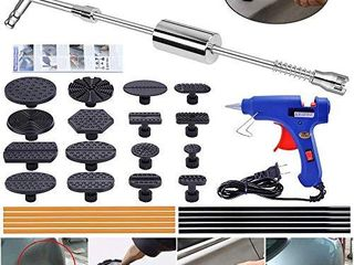 YOOHE Paintless Dent Repair Puller Kit   Dent Puller Slide Hammer T Bar Tool with 16pcs Dent Removal Pulling Tabs for Car Auto Body Hail Damage Remover