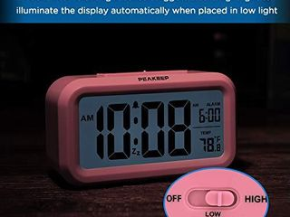 PEAKEEP Smart Night light Digital Alarm Clock with Indoor Temperature  Battery Operated Desk Small Clock  Pink