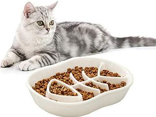 Ceramic Slow Feeder Cat Dog Bowls   Unique Fishbone Fun Interactive Design Feeder Bowl Preventing Pet Feeder Anti Gulping Healthy Eating Diet Pet Bowls Against Bloat Indigestion and Obesity  White