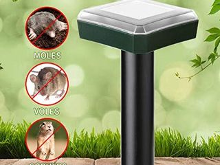 lubatis 4 Pack Mole Repellent Outdoor Solar Powered Sonic Deterrent Mole Chaser Scare Vole Groundhog Gopher Spikes