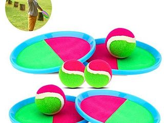 Qrooper Kids Toys Toss and Catch Game Set  Ball Sports Games with 4 Paddles 4 Balls and 1 Storage Bag  Classic Outdoor Games  Beach Games  Yard Games Suitable for Kids Gift Ideal  Blue