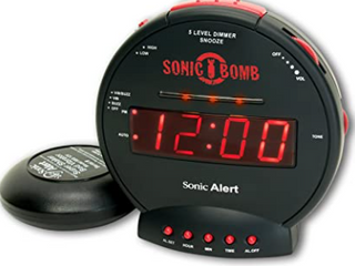Sonic Bomb  Sonic Alert  Alarm Clock  With Super Shaker Bed Vibrator