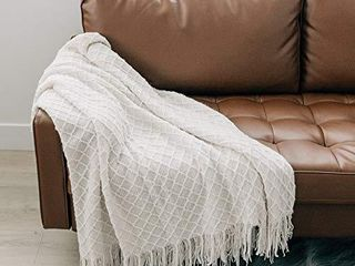 Graced Soft luxuries Throw Blanket Woven Soft for Sofa Couch Decorative Knitted Boho Fringe Blanket  Ivory  large 50  x 60