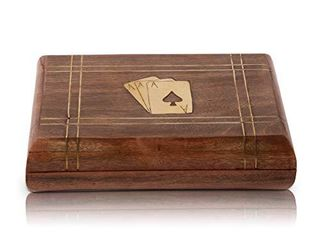 Great Christmas Gifts Handcrafted Classic Wooden Playing Card Holder Deck Box Storage Case Organizer With 2 Sets of Premium Quality  Ace  Playing Cards Anniversary Housewarming Gifts For Him Her