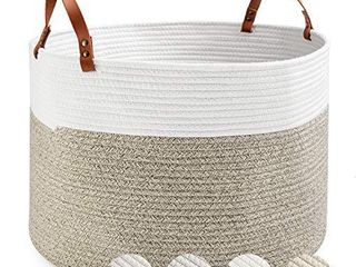 Cotton Storage Basket BIMNOOT Woven laundry Basket Decorative Baby Nursery Hamper with Handle Kids Storage Bin for Organizer Pieces at Home or Office  13 4 x8 7 x4 8 Brown Off White
