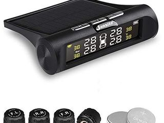 Jansite TPMS Solar Tire Pressure Monitoring System  Universal Wireless lCD Display 4pcs Waterproof External Sensors Real time Detection Tire Pressure Temperature Auto Security Alarm Systems 0 62 PSI