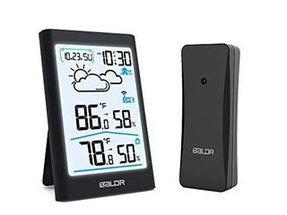 BAlDR Indoor Outdoor Thermometer Wireless Weather Station  with White Backlight  Temperature Monitor   Humidity Gauge  Battery Operated   Black