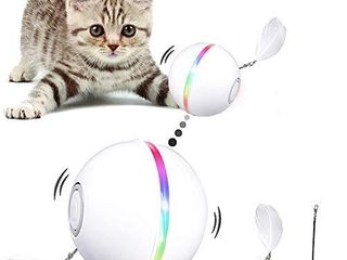 YOFUN Interactive Cat Toys  Automatic Cat Toy Ball  USB Charging Pet Toy  Built in Spinning lED light  Newest Version with 2 lightening Modes   Attached Feather with Bell Insert Catnip