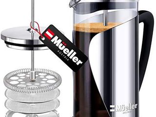 Mueller French Press Coffee  20  Heavier Duty Stainless Steel Frame   Trumax Borosilicate Glass Coffee Press with 4 level Filtration System  Easy Clean  34oz 8 cups