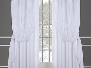 Exclusive Home Curtains Catarina layered Solid Blackout and Sheer Window Curtain Panel Pair with Grommet Top  52x96  Winter White  2 Count