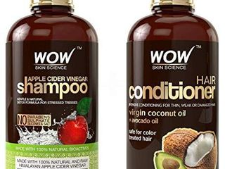 WOW Apple Cider Vinegar Shampoo and Hair Conditioner Set Increase Gloss  Hydration  Shine  Reduce Itchy Scalp  Dandruff   Frizz  No Parabens or Sulfates  All Hair Types  2 x 16 9 Fl Oz 500ml
