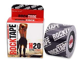 RockTape H2O 2 Inch Highly Water Resistant Kinesiology Tape  16 4 Foot Continuous Roll  H2O Black logo
