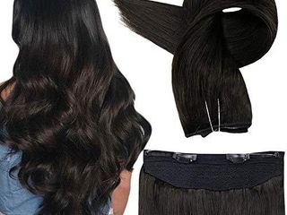 Fshine Halo Extensions Real Human Hair 18 Inch Darkest Brown 2 Invisible Wire Hidden Crown Hair Piece 10 Inch Width Double Weft 80 Gram