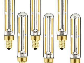 Dimmable T6 lED Bulbs  4W E12 Edison Tube light Bulbs Warm White 2700K  60W Candelabra Incandescent Bulbs Equivalent  Clear Glass  Filament Tubular light Bulb 6 Pack