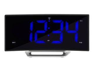 la Crosse Technology 1 8  Curved Blue led Atomic Dual Alarm Clock