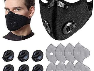 1 Pcs Unisex Protect Mouth Cover Adjustable Reusable with 8 Filters 6 exhaust valves for Allergies Woodworking Running Sanding Mowing Black