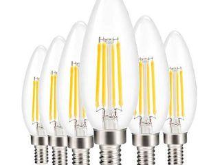 led Candelabra light Bulb Filament Vintage Edison Chandelier Dimmable Bulbs 40 Watt Equivalent Warm White 2700k 400 lumen E12 Base 6 Pack