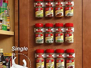 Kitchen Spice Rack Organizer 20 Spice Gripper Clip Strips Cabinet Door for Spice Containers   4 Strips  Holds 20 Jars